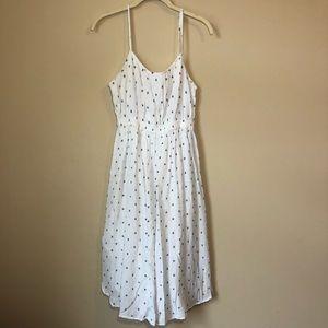 Loft | White Polka Dot Long Spaghetti Strap Dress